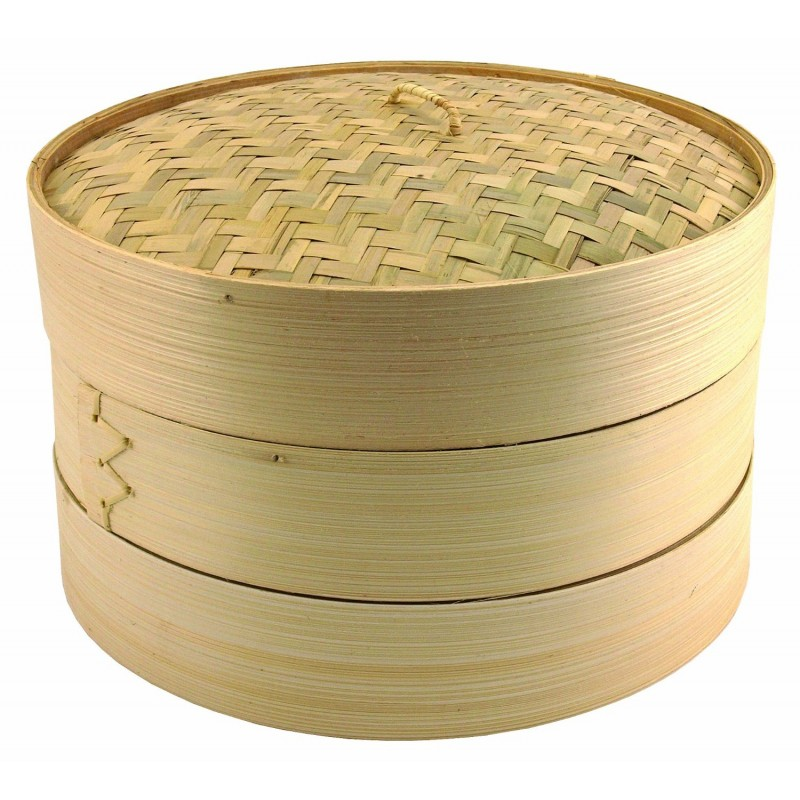 """Bamboo Steamer 10""""/Two bottom& One cover"""
